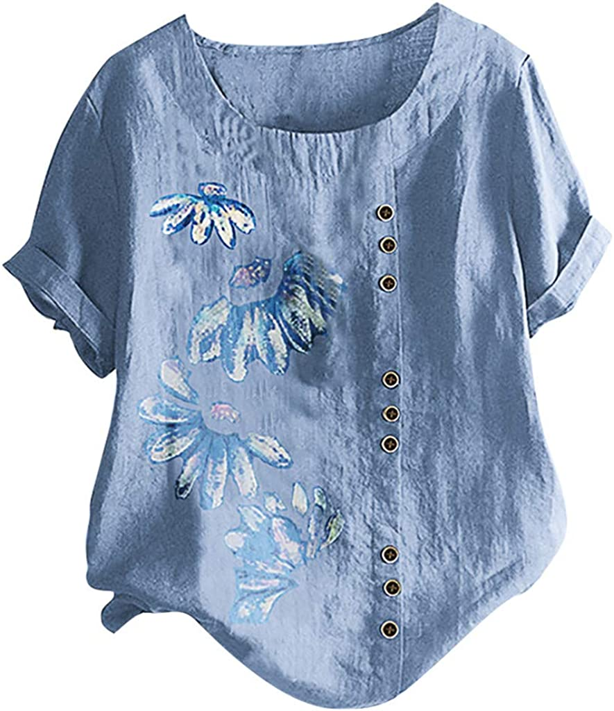 Wasababy Shirts for Women Fashion Womens O-Neck Plus Size Rose Embroidery Floral Casual Tank Tops Shirt Blouse Camisole