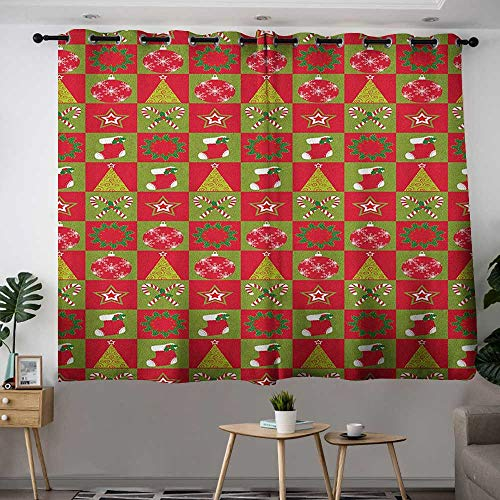 Zodel Sliding Door Curtains Christmas Fireplace Socks for Surprise Stars Ornaments Triangle Pines Image Grommet Curtains for Bedroom W 55