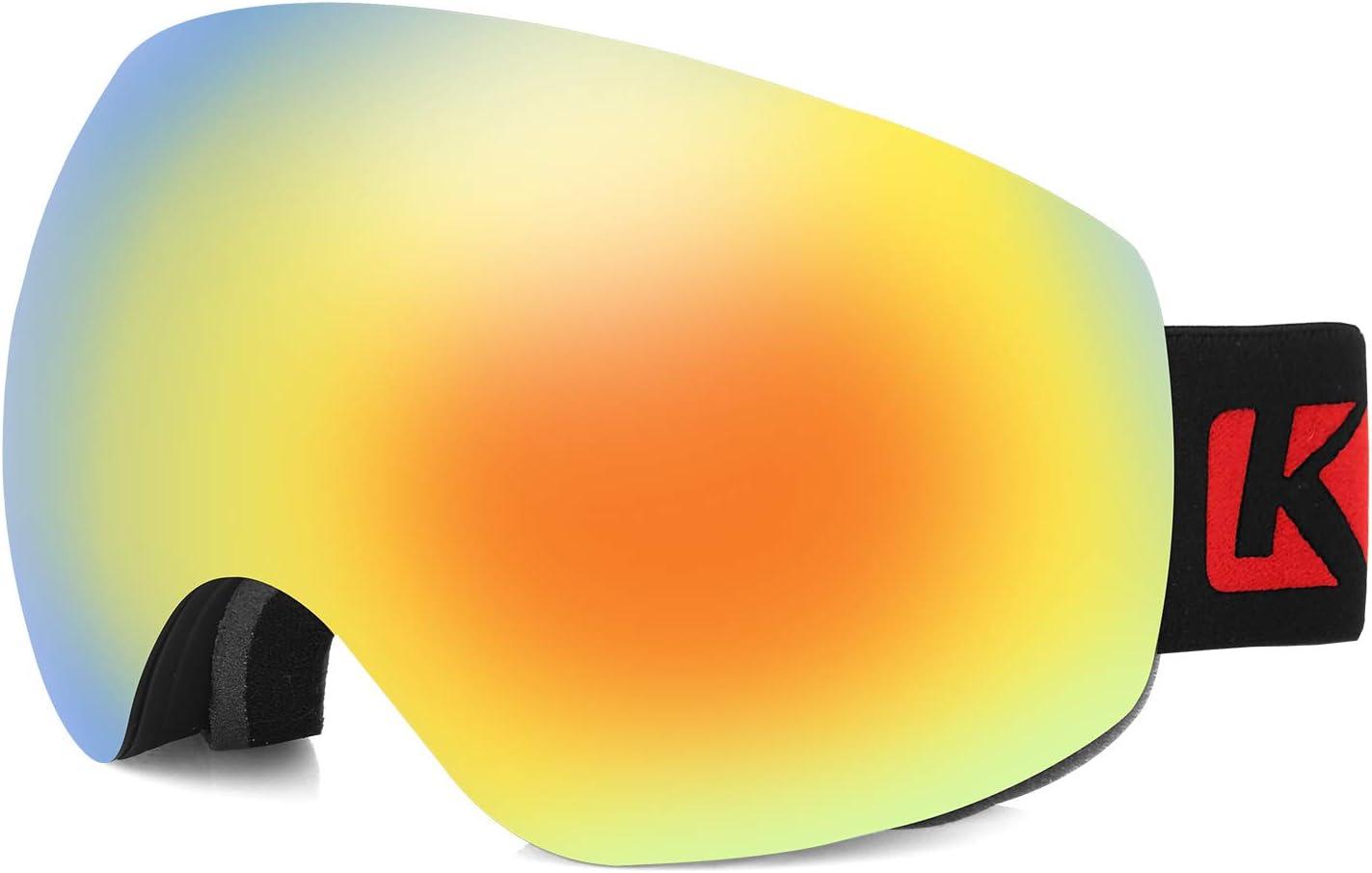 KUTOOK Gafas De Esquí Snowboard Nieve para Hombre Mujer Adultos Anti Niebla Máscara Gafas De Ventisca Snow Ski Esquiar Doble Capa Lente 100% UV400 Protección
