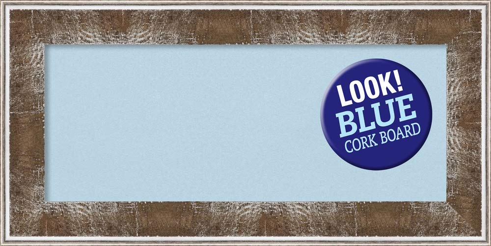 Amanti Art Blue Cork Farmhouse Brown Framed Bulletin Boards, 36 x 18,