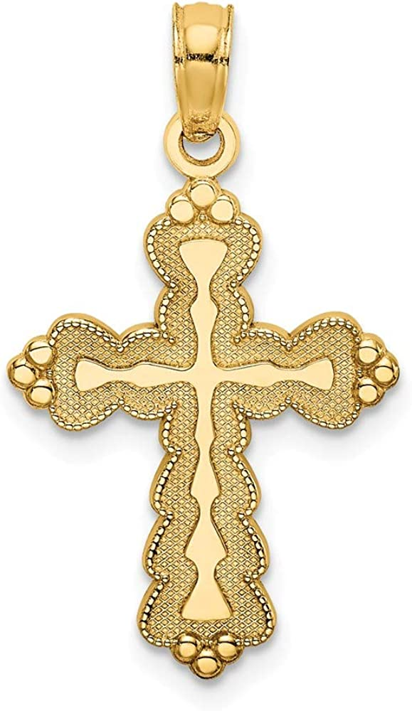 FB Jewels 14K Yellow Gold Scalloped Cross Pendant