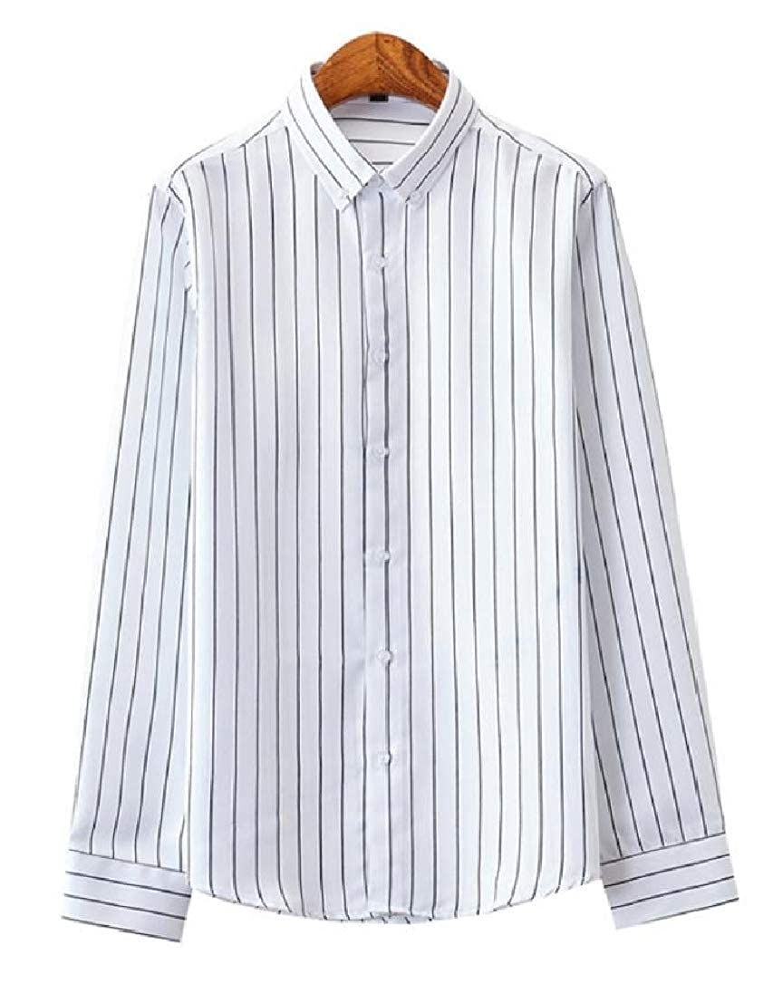 Conffetti Mens Formal Tops Long Sleeve Stripe Turn Down Button Front Shirts