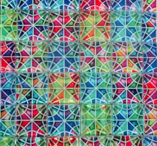 Kaleidoscope Glass Tile (Glass Mosaic Tiles Kaleidoscope Medallions Glass Mosaic 1