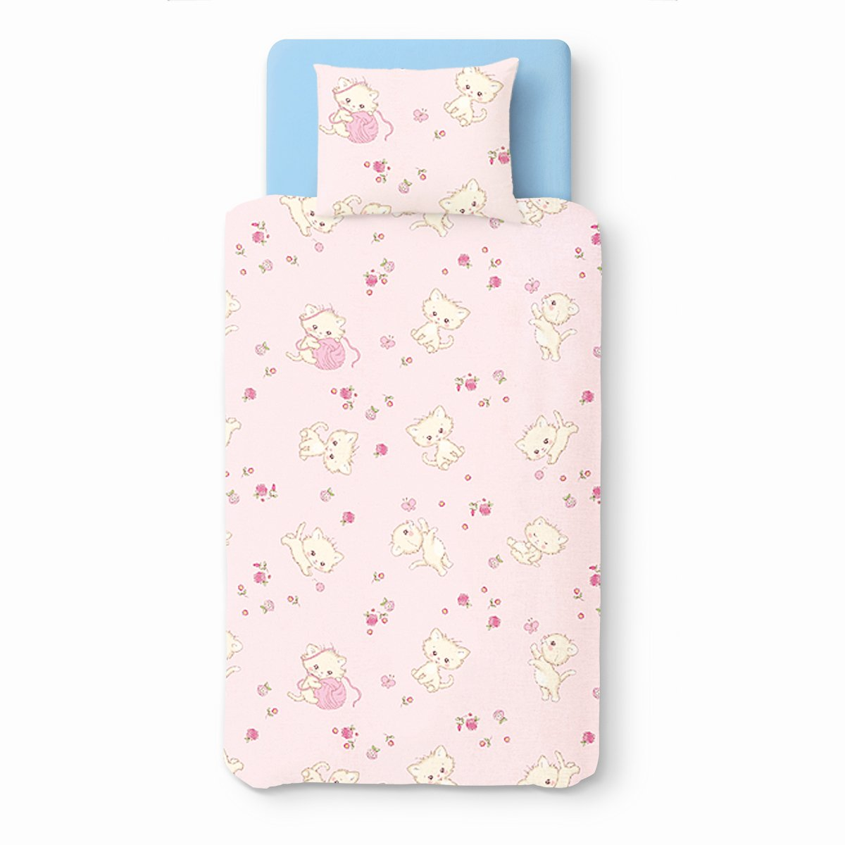 Baby Pink Kittens – SoulBedroom 100% Cotton Bed Set (Duvet Cover 39''x 55'' & Pillow Case 15''x 23'')