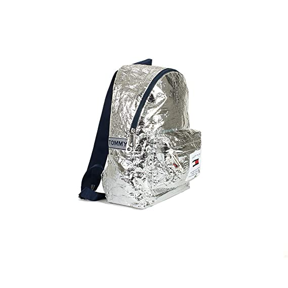 0fdc8ba97d1 TOMMY HILFIGER AU0AU00462 TJU LOGO TAPE BACKPACK Unisex SILVER UNI:  Amazon.co.uk: Clothing