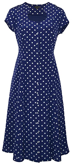 Vintage Polka Dot Dresses – Ditsy 50s Prints Polka Dot Button Front Dress $263.35 AT vintagedancer.com