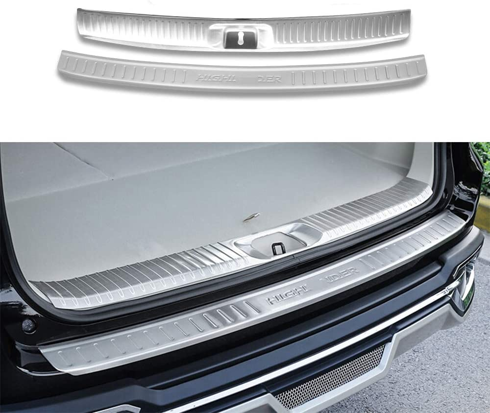Fit For Highlander Kluger 2015-2018 Stainless Steel 2 Pcs Inner External Rear Door Plate Bumper Cover Bar Sill Trim Silver