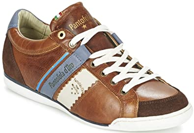 Mens Pantofola d'Ora Pesaro Piceno Tan White Leather Mens Shoes Trainers On Sale Size 42