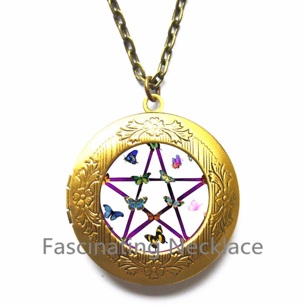Astrology Locket Pendant,AE0054 Wiccan Locket Necklace New Locket Necklace,Pentagram Locket Pendant Wiccan Jewelry Wiccan Locket Pendant Pentagram Locket Necklace Pentagram Jewelry