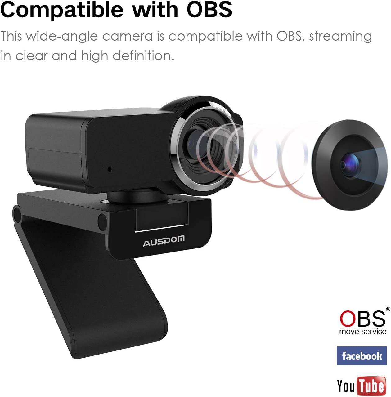 Compatible with Windows 7//8 Full HD Webcam 1080P with Microphone AUSDOM Wide Angle USB PC Cam for Video Chat//Recording on YouTube//Skype 10 //XP//Chrome//Mac OS
