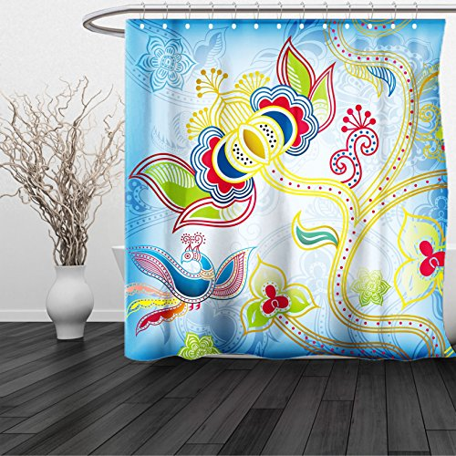 Camilla Fabric Set (HAIXIA Shower Curtain Asian Colorful Floral Far Eastern Art Motifs Swirled Lines Dots and Phoenix Bird Figure Multicolor)
