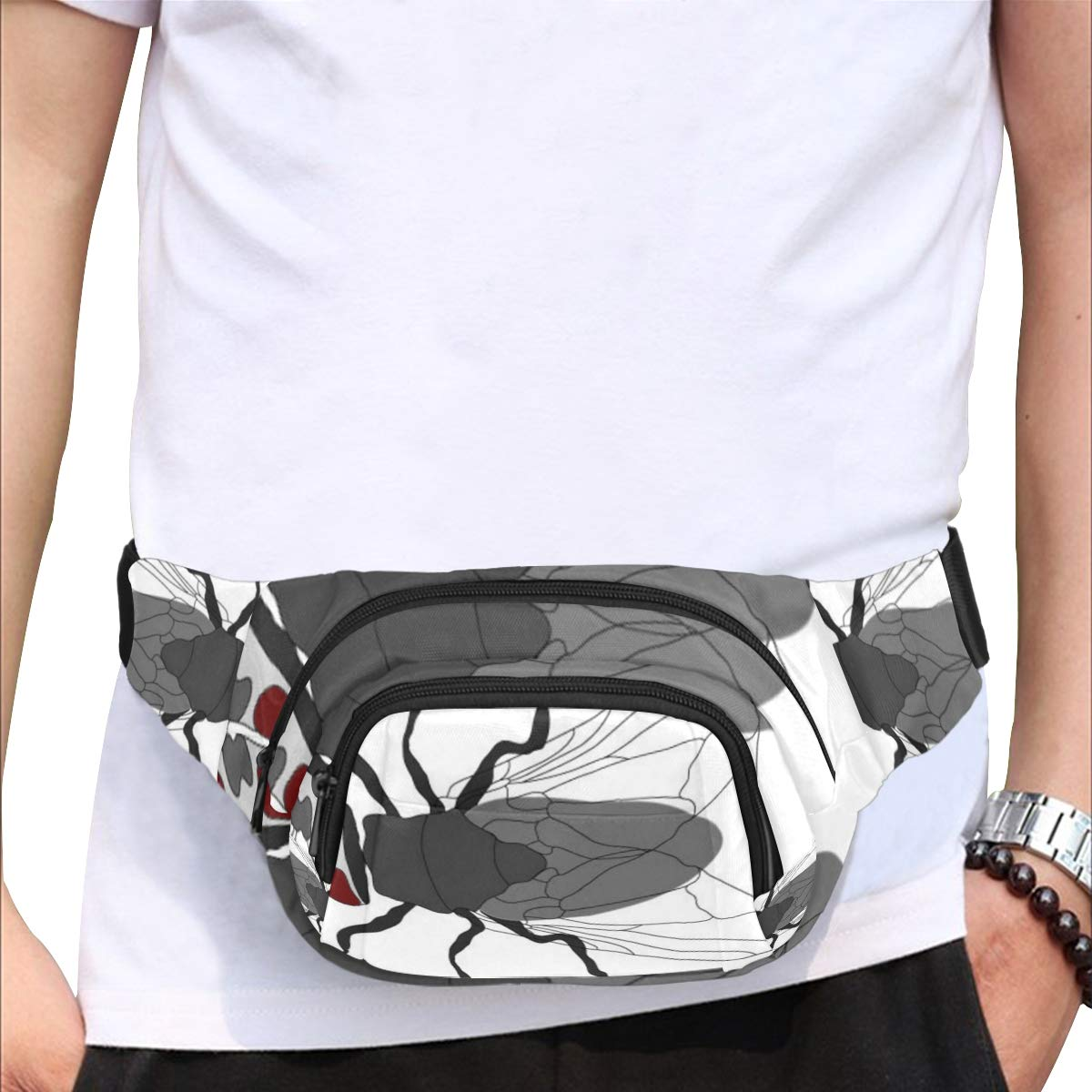 Flying Insect Cartoon Flies Animation Fenny Packs Waist Bags Adjustable Belt Waterproof Nylon Travel Running Sport Vacation Party For Men Women Boys Girls Kids