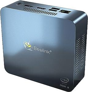 Mini PC Beelink U55 Intel core i3-5005U Windows 10 64-bit Mini Desktop Computer,Dual HDMI / 2.4G+5G WiFi/Gigabit Ethernet/Type-C Port / 4 USB Ports (U55 8+128G)