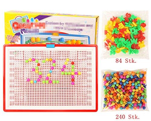 Omos Steckspiel pädagogisches Spielzeug Farbig Spielzeug für Kinder inklusiv ca 324 Stecker