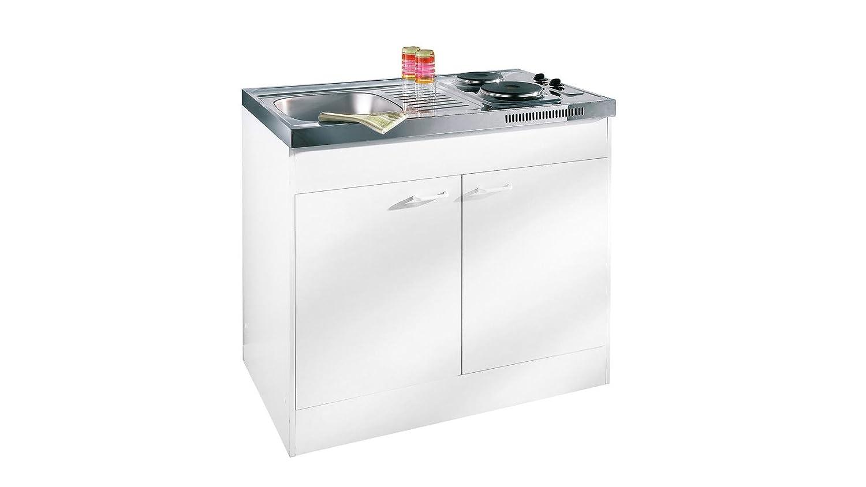 respekta Miniküche Single Pantry Küche Küchenblock 100 cm Weiss ohne ...