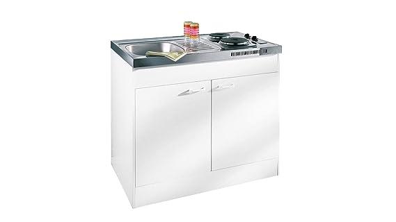 Miniküche 100 Cm Mit Kühlschrank : Respekta miniküche single pantry küche küchenblock 100 cm weiss ohne
