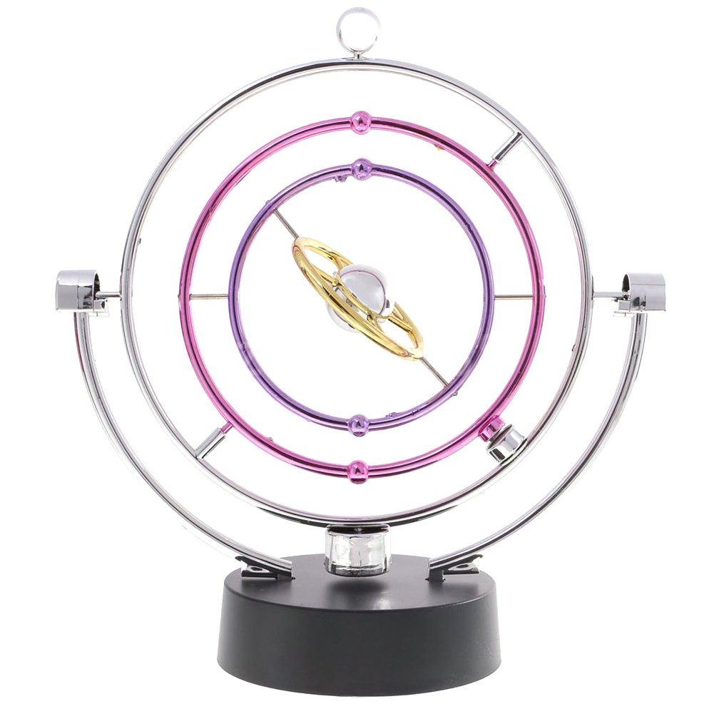 Colorful Orbit Perpetual Motion Magnetic,Kinetic Art Galaxy Planet Balance Mobile Physics Science Office Desk Toy