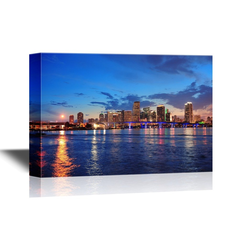 USA City Skyline Canvas Wall Art - Miami City Skyline Panorama at Dusk with Urban Skyscrapers and Bridge - Gallery Wrap Modern Home Art | Ready to Hang - 32x48 inches