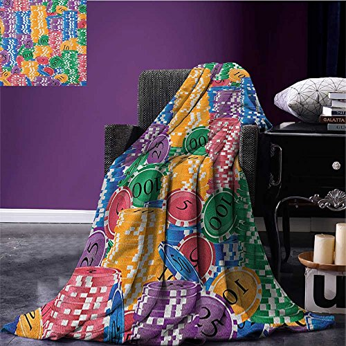 t Stacks of Colored Casino Chips Betting Luck Leisure Repetition Illustration Print Flannel blanket Multicolor size:51