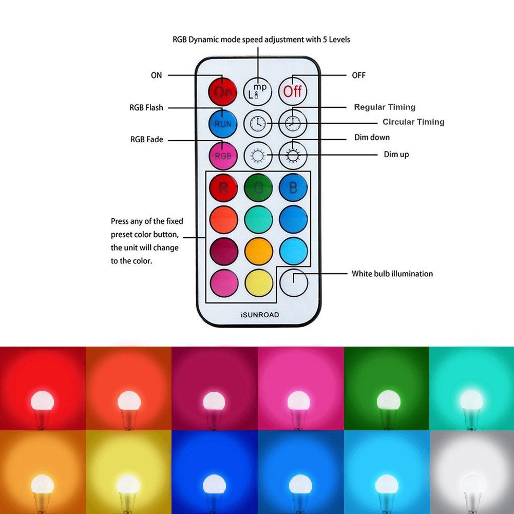 Amteker 12W E27 RGBW LED Lampadina che Cambia Colore con 21 Tasti di Controllo Remoti, Doppia Memoria, 12 Colori Multipli Dimmerabile Lampada di Illuminazione Dell\'umore