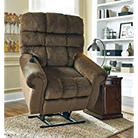 Ashley Ernestine 9760212 Power Lift Recliner with Rolled Arms Dual Motor Design and Stitching Details in