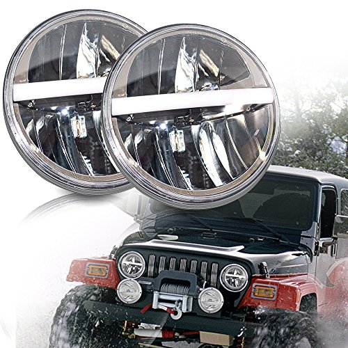 UNI-Balance 7Inch Round Led Headlight DRL&Amber Turn Light&Hi/Lo Beam Fit Jeep Wrangler JK TJ LJ CJ Willys Wheeler Rubicon Sahara Freedom Edition Sport Islander Sport Hummer 1&2 Land Rover Defender