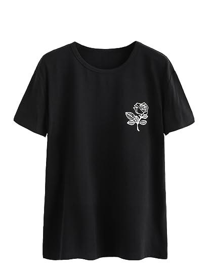 98d8afde4b3 Verdusa Women s Cute Rose Print Tunic Tops Casual Short Sleeve T-Shirt  Black S