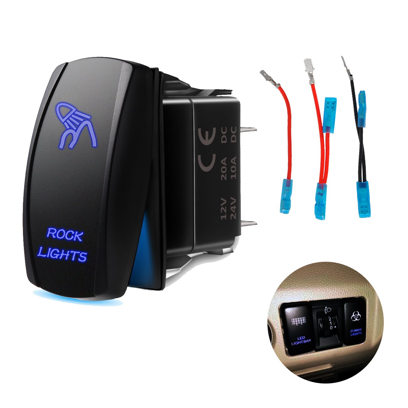 RCRunning Laser Rocker Switch with Wire Set (5 Female Terminal and 3 Male  Terminal),5Pin 20A 12V On-Off LED Light Toggle Switch,for UTV Car Auto  Truck