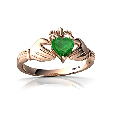 Amazon 14kt Gold Emerald 5mm Heart Claddagh Ring Jewelry