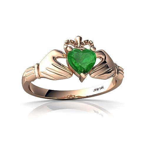ec9a2034595c9 Amazon.com: 14kt Gold Emerald 5mm Heart Claddagh Ring: Jewelry