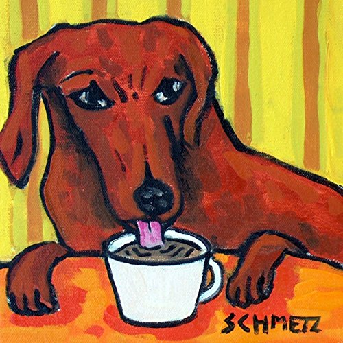 Dachshund at the Cafe Coffee Shop dog art tile coaster - Dog Coaster Ceramic Tile