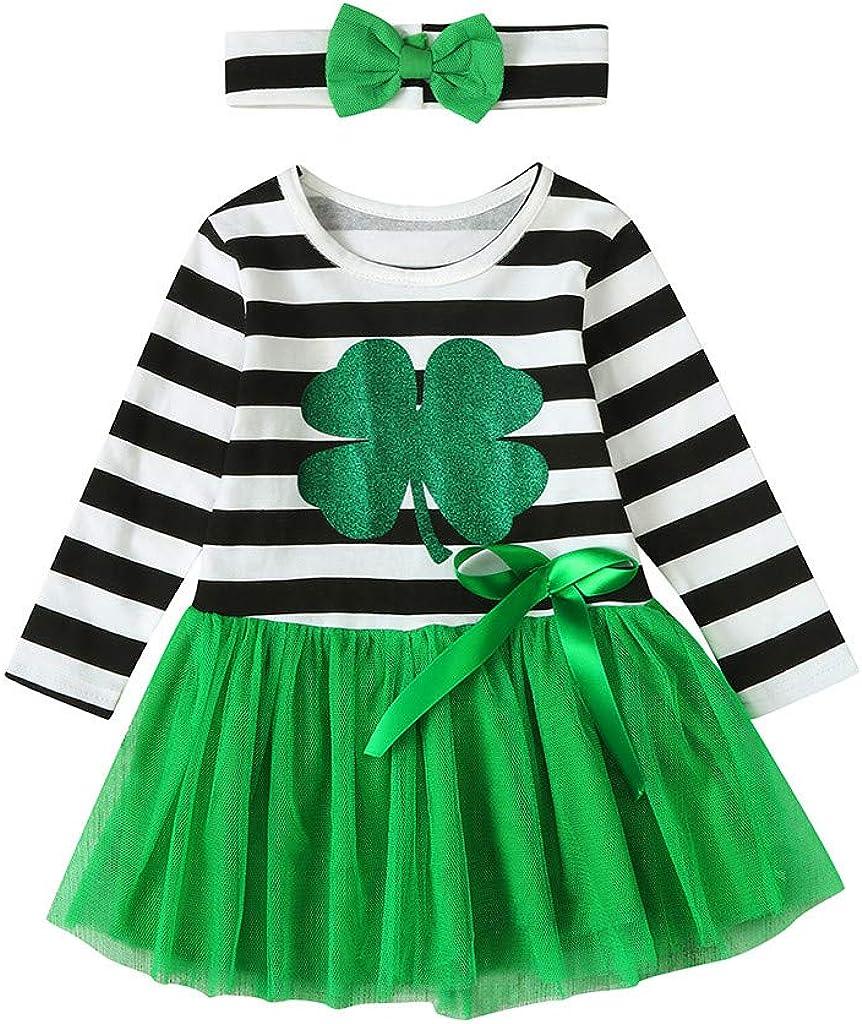 Green and white stripe baby girl Bow headband