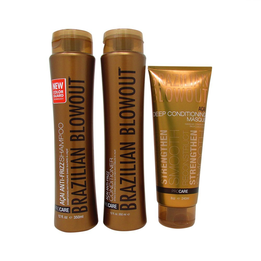 Brazilian Blowout Anti Frizz Shampoo Conditioner Duo with Masque 3 Piece Set