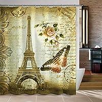 Uphome 72 X 72 pulgadas Retro Vintage París Torre Eiffel Cortina de baño para niños a prueba de agua - Mariposa y flor Tejido de poliéster marrón pálido Accesorios de baño Decoración del hogar
