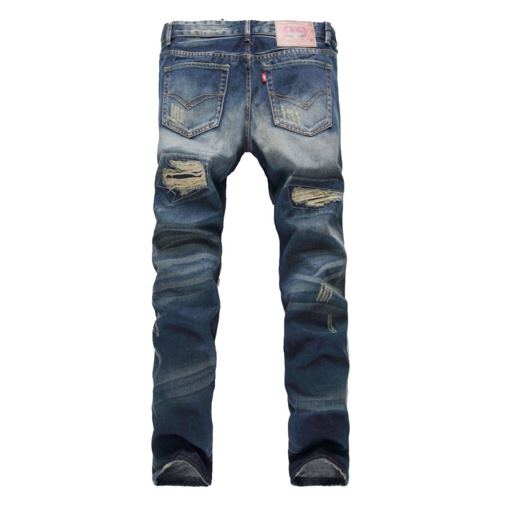 YRHDC Men Jeans Ripped Holes Straight Casual Leisure Slim Fit Skinny Denim Trousers Cotton Pants