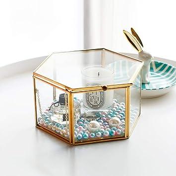 Zimmer Deko S//L Geschenk 1x Glas Box Hexagon Nordisch Aufbewahrungsbox Vintage
