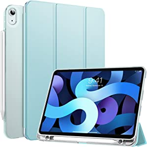 MoKo Case Fit New iPad Air 4th Generation 2020 - iPad 10.9 Case with Built-in Pencil Holder, Translucent Back Bumper Case Smart Shell Cover for iPad Air 4 2020, Auto Wake/Sleep, Sky Blue