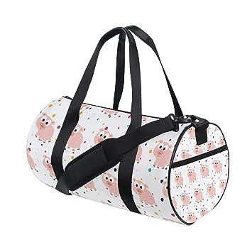 Amazon.com   Personalized Kawaii Pink Pig Gym Duffel Bag- Training Duffle  Bag DKRetro Round Travel Sport Bags for Men Women   Sports Duffels b67832921d