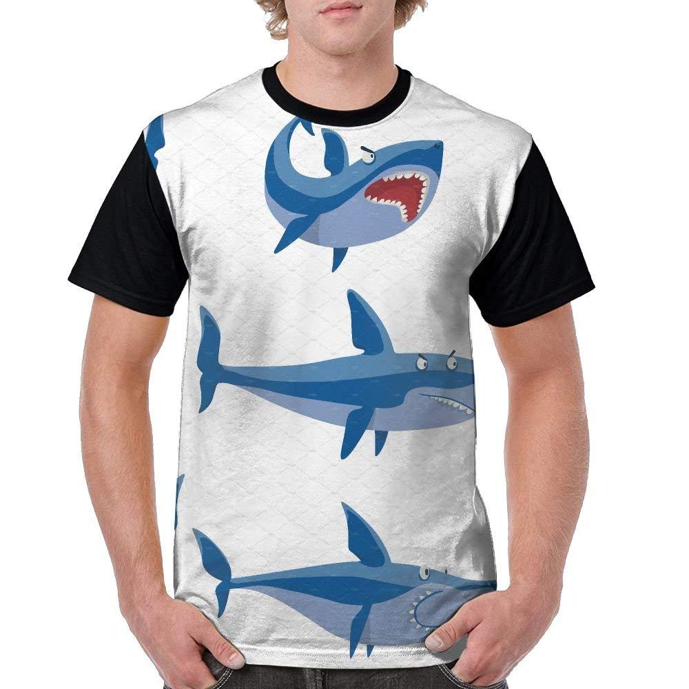20ec511c4c1d Amazon.com  Mens Circular Collar T-Shirt Cartoon Shark Mascot Fashion Youth    Adult T-Shirt Black  Clothing