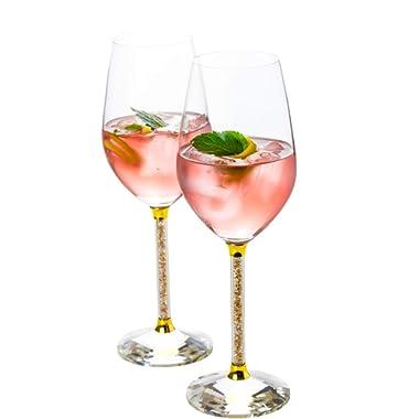 Wine Glasses- Crystal Stemmed Glassware Set (Gold)