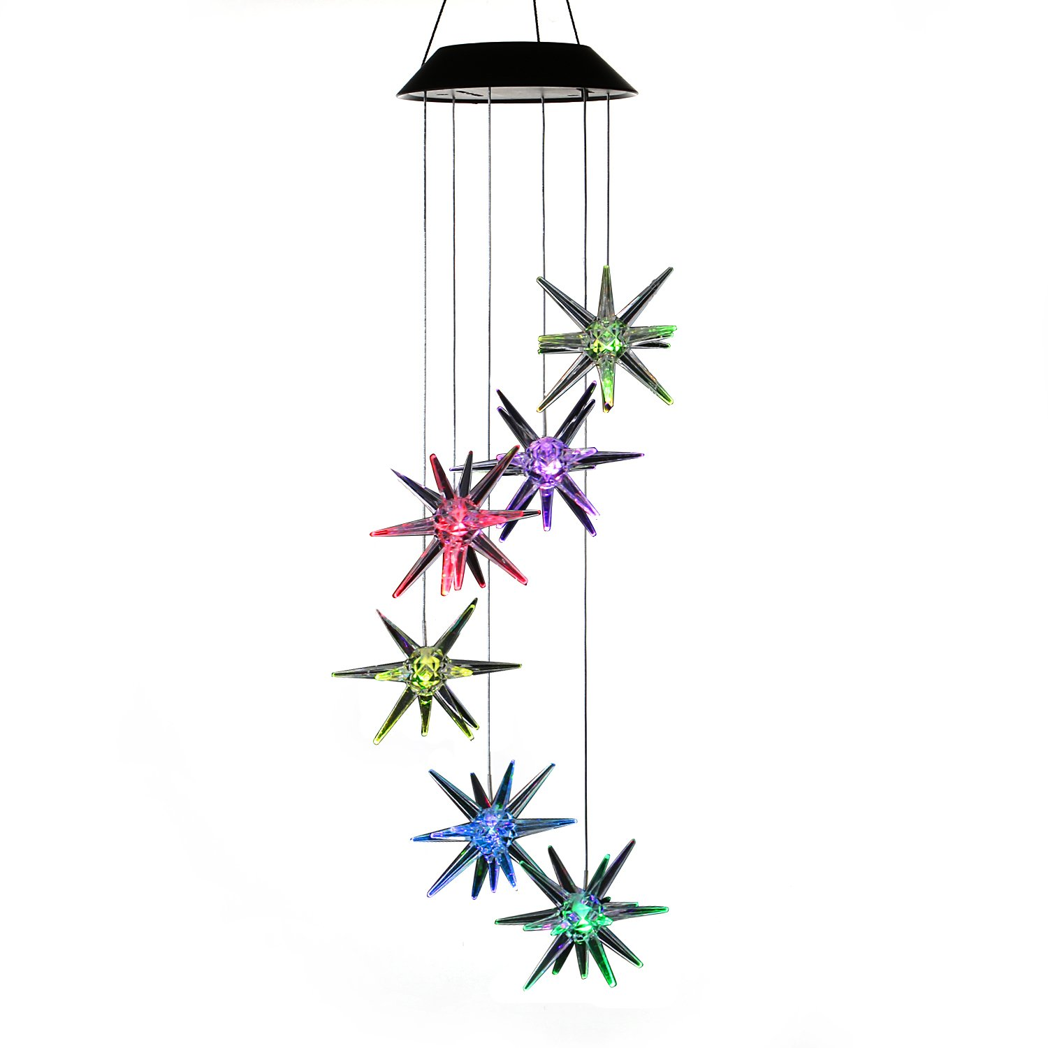 AceList Changing Color Solar Powered Mobile, Spiral Spinner Windchime Wind Chime Outdoor Decorative Windbell Light for Patio, Deck, Yard, Garden, Home, Pathway