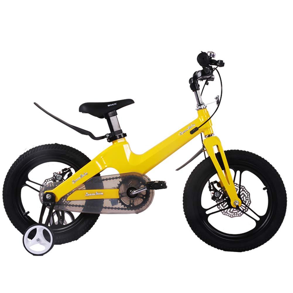 1-1 Bicicleta para niños Ligero Aleación de magnesio Freno de Disco Doble Niño Niña 14 Pulgadas,Yellow