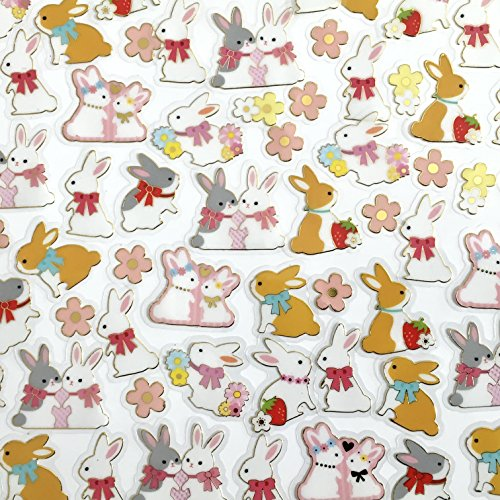 Rabbit Bunny Flake Stickers Assoted 10 Designs / 78 Pieces in a Package Bunny Rabbit Stickers