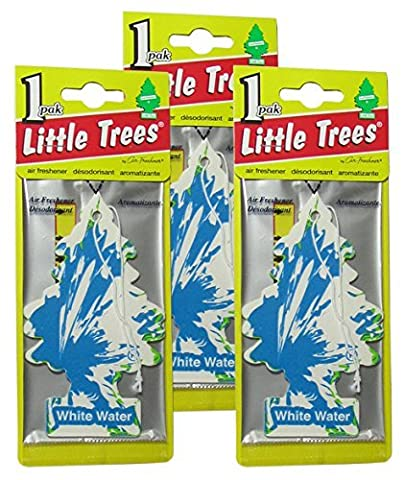 Little Trees Cardboard Hanging Car, Home & Office Air Freshener, White Water (Pack of 3) - Little Trees Car