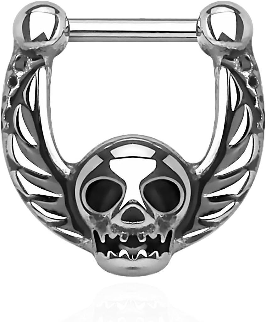 Edelstahl 16g 1,2 mm Nasenpiercing Skull Septum Nase Piercing Clicker Hänger