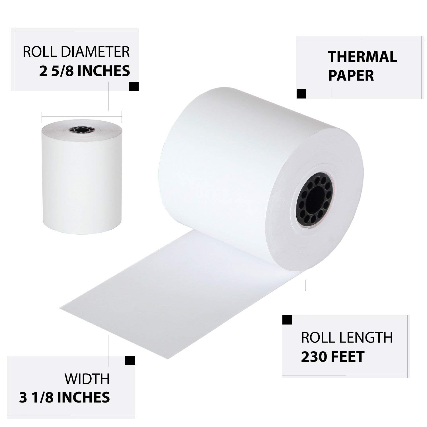 FHS Retail Thermal Paper Cash Register Rolls, 3 1/8 x 230', 50 Rolls In Case, Made in USA/Canada by FHS Retail (Image #4)