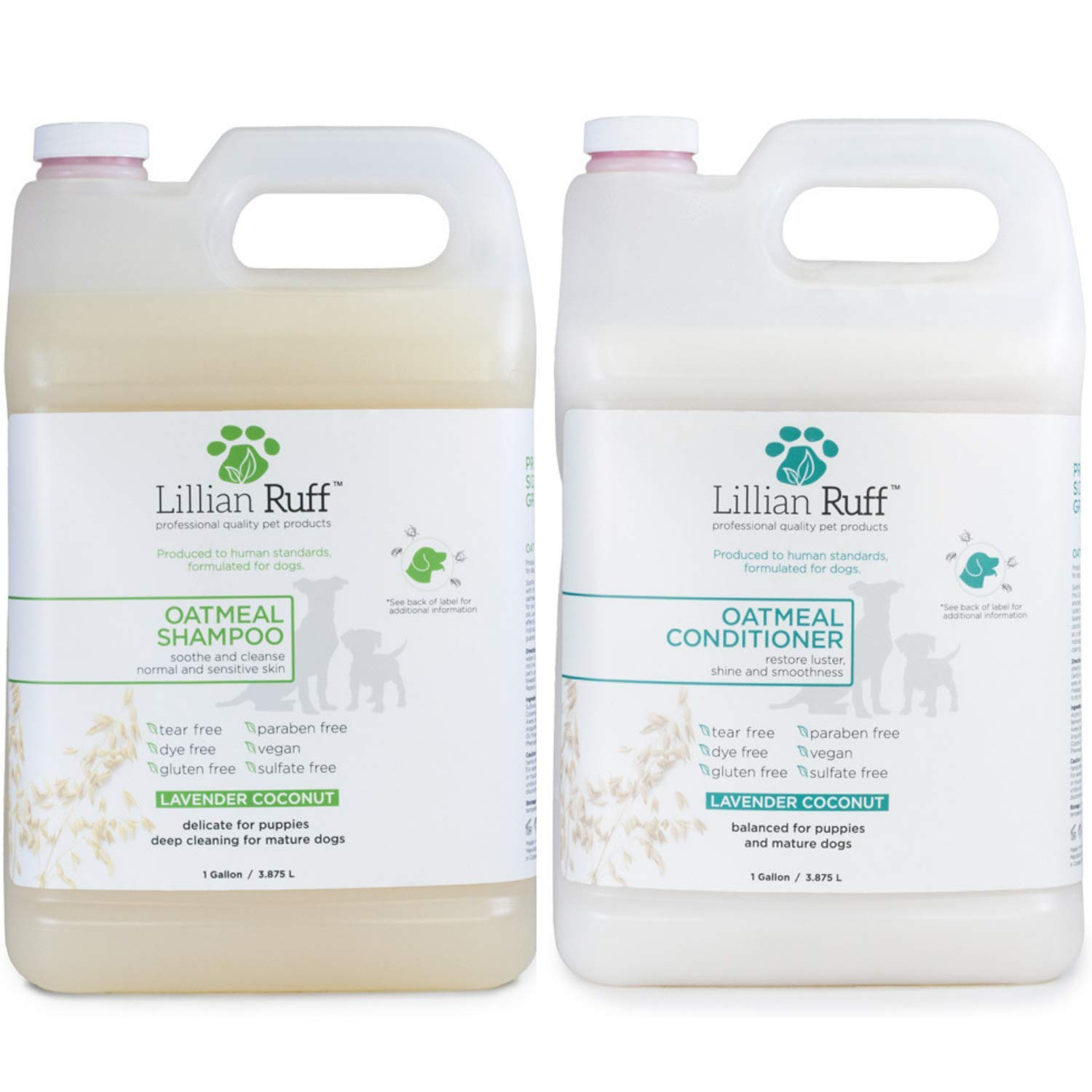 Lillian Ruff Oatmeal Dog Shampoo - Lavender Coconut Scent with Aloe - Deodorize and Soothe Dry Itchy Skin - Gentle Cleanser for Normal to Sensitive Skin (Shampoo & Conditioner Gallon Set) by Lillian Ruff