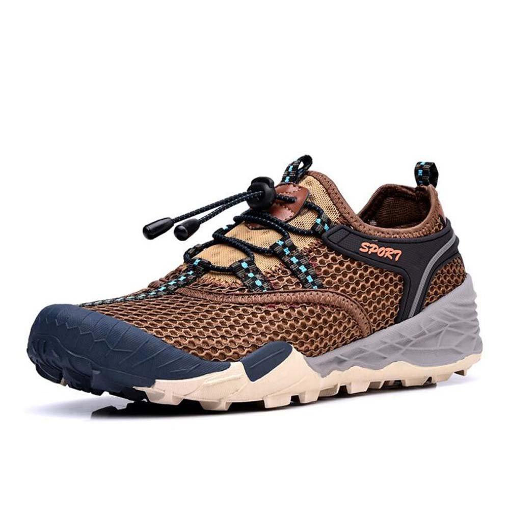 MYI Zapatos de los Hombres Al Aire Libre Primavera Nueva Malla Hueca Transpirable Turismo de Secado Rápido Senderismo Zapatos Para Caminar 41 EU|Brown