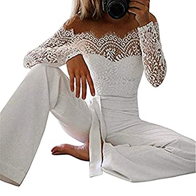 low priced 59bb1 44c2f Ruiying Elegant Damen Jumpsuit mit Spitze Nähte mit Schmetterlings Lang  Jumpsuit Playsuit Party