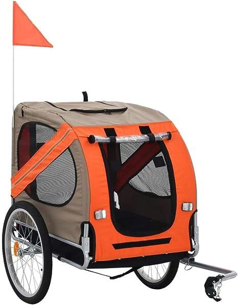 vidaXL Remolque Bicicleta Perros Impermeable Plegable 1 Bandera + ...